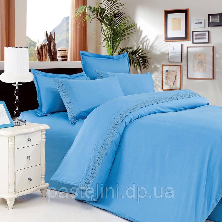 Love You Евро комплект  сатин +кружево голубой
