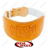 Пояс атлетический кожаный Zelart ZB-01016-6 (шир-6in (15см) с подкладкой для спины, на пряжке)