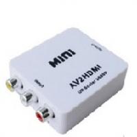 Конвертер Mini, AV to HDMI, ВХОД 3RCA(мама) на ВЫХОД HDMI(мама), 720P/1080P, White, BOX