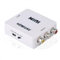 Конвертер Mini, HDMI to AV, ВЫХОД 3RCA(мама) на ВХОД HDMI(мама), 720P/1080P, White, BOX