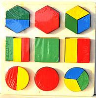 Игрушка деревянная логика (разноцветные фигуры)