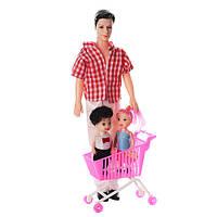 Кукла Кен папа с детьми FC816