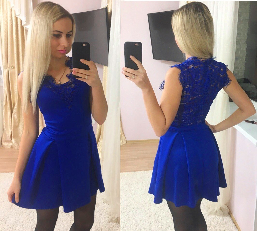 Платье  дайвинг и кружево юбка в складку
