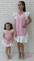 """Fameli look! Нарядное платье из дайвинга для мамы и дочки """"Свободного кроя с пышными воланами"""" РАЗНЫЕ ЦВЕТА"""