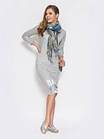 Молодежное женское платье на флисе миди с принтом 90222