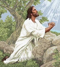 """Схема для вышивки бисером на атласе икона """"Молитва Иисуса"""" 45х50 (полная зашивка)"""