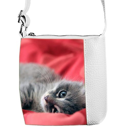 Белая сумочка для девочки Mini Miss с принтом Кошка серая