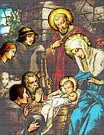 """Схема для вышивки бисером на атласе икона """"Рождество Христово"""" 40х50 (полная зашивка)"""