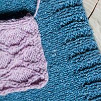Пряжа ТМ «Вівчарі» Semi-wool (Полушерсть) № 401 сиреневый и 409 джинс