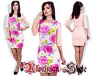 Женское облегающее короткое платье с цветочным принтом. разные цвета., фото 1