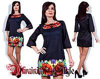 Короткое платье в украинском стиле с принтом из маков. 2 цвета!, фото 1