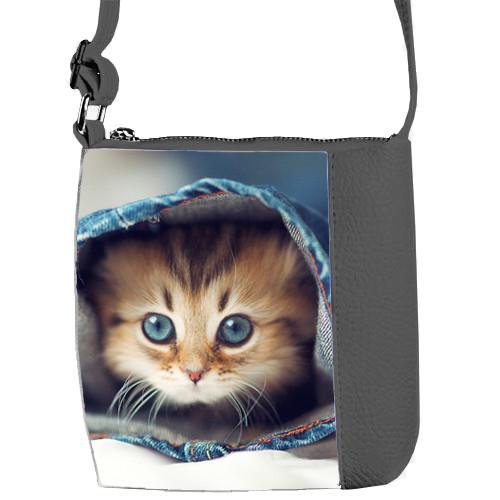 Серая сумка для девочки Mini Miss Милый котенок