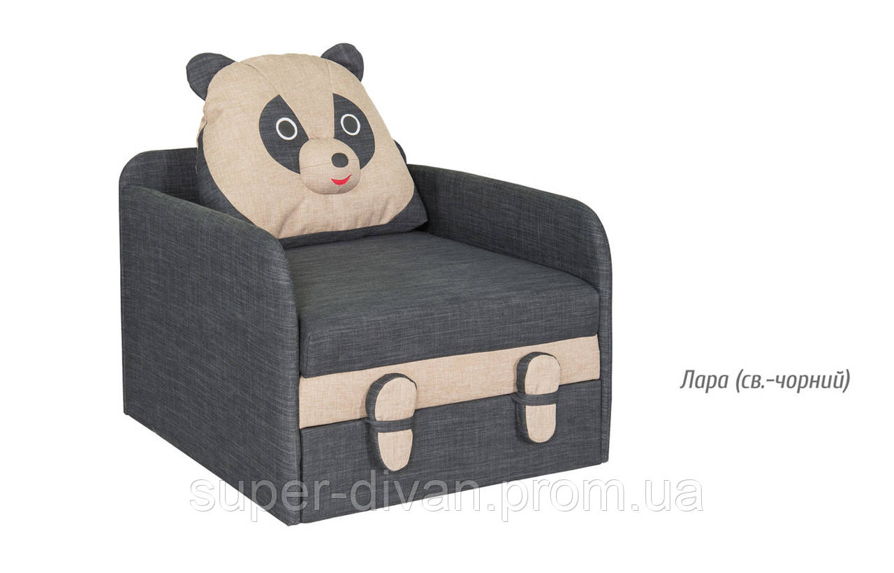 Детский диван Панда (Лара светло-чёрный)