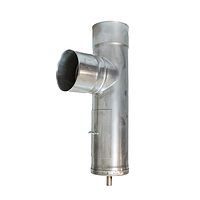 Трійник з нержавіючої сталі з конденсатовідводом та ревізією жаростійкий, H=0.6, Ø150