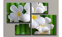 """Модульная картина на холсте """"Цветы на бамбуке"""" для интерьера"""
