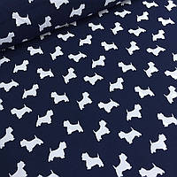 Ткань хлопковая Mist с белыми собачками на синем фоне №01