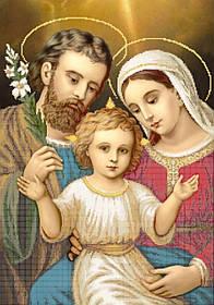 """Схема для вышивки бисером на атласе икона """"Святое семейство"""" 40х60"""