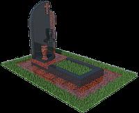 Одиночный гранитный памятник с крестом и вазою