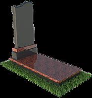 """Одиночный памятник гранитный с надгробкой """"Волна"""""""