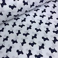 Ткань хлопковая Mist с синими собачками на белом фоне №02