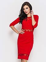 Полуприталенное женское платье с вставками из гипюра, рукав три четверти 90221/1