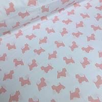 Ткань хлопковая Mist с коралловыми собачками на белом фоне №03
