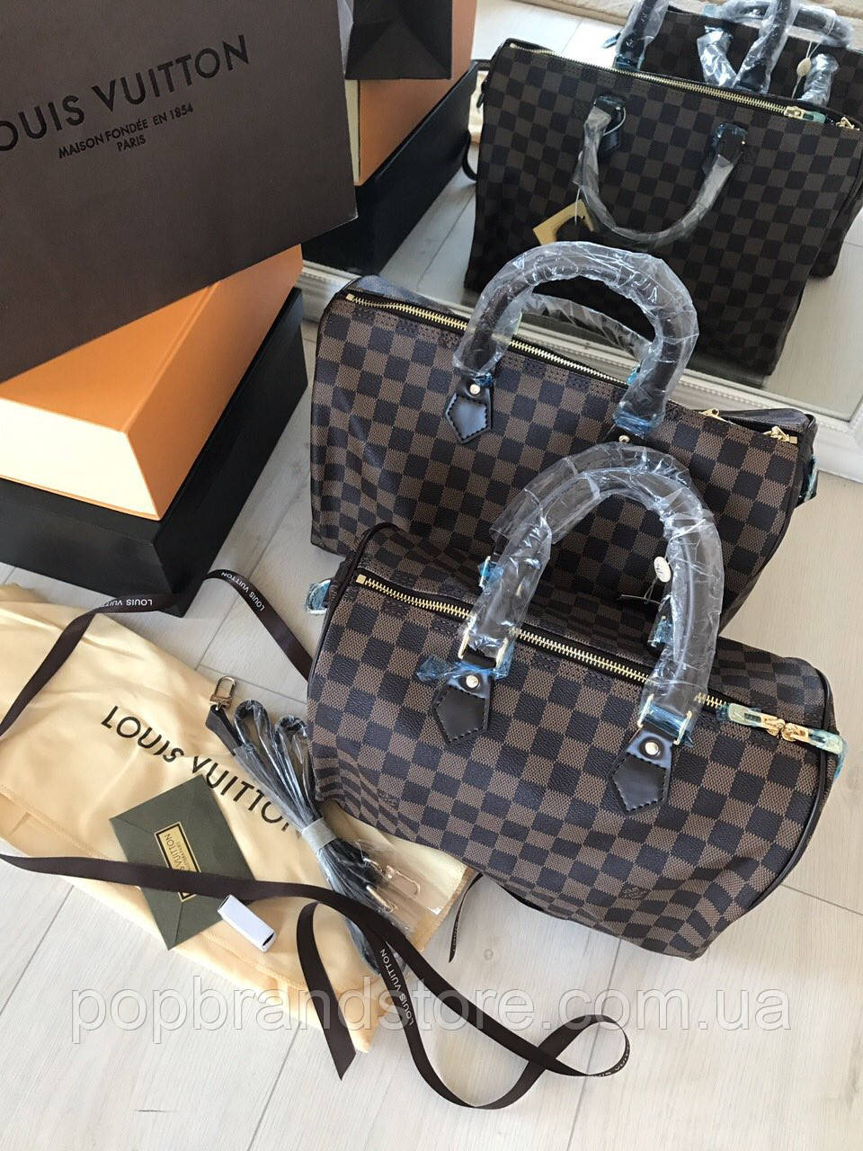 70a26674c5be Стильная женская сумка LOUIS VUITTON SPEEDY DAMIER 30 см (реплика) - Pop  Brand Store