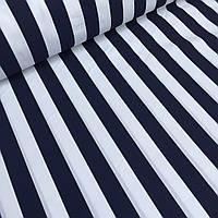 Ткань хлопковая Mist с широкой синей полосой на белом фоне №04