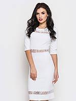 Полуприталенное женское платье с вставками из гипюра, рукав три четверти 90221/3, фото 1