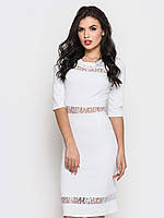 Полуприталенное жіноче плаття з вставками з гіпюру, рукав три чверті 90221/3, фото 1