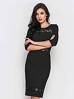 Женское платье прилегающего силуэта с вставками из гипюра, рукав 3/4  90221
