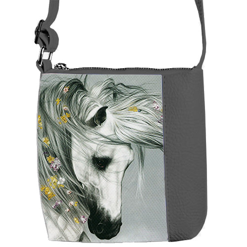 Серая детская сумка для девочки Лошадка