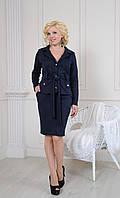 Стильный женский костюм: пиджак с поясом и юбка карандаш