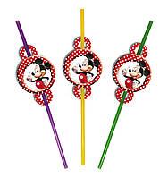"""Коктейльные трубочки с гофрой """"Микки  Маус"""" , 6 шт."""