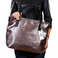 Бронзовая крокодиловая сумка большая женская