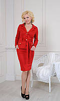 Красный женский костюм: пиджак с поясом и юбка карандаш