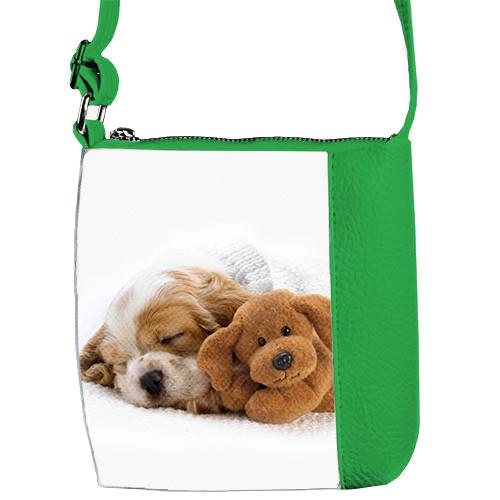 Зеленая детская сумка Mini Miss Собачка спит