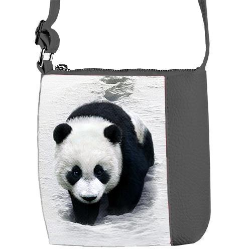 Серая детская сумка Mini Miss с принтом Панда