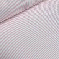 Ткань хлопковая Mist с мелкой розовой полосой на белом фоне №08