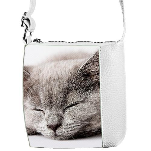 Белая сумочка для девочки Mini Miss Кошка спит