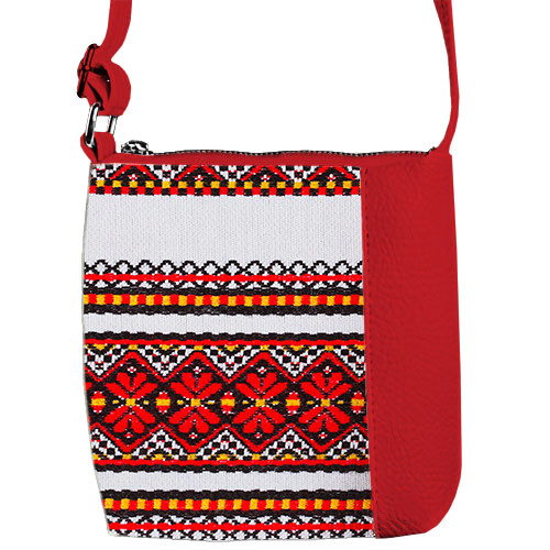 Красная сумочка для девочки с принтом Вышиванка
