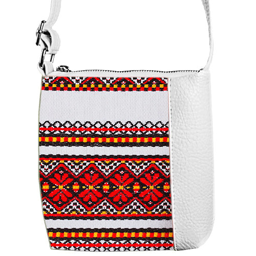 Белая сумочка для девочки с принтом Вышиванка