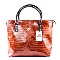 Большой коричневый шоппер крокодиловая сумка