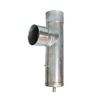 Трійник з нержавіючої сталі з конденсатовідводом та ревізією жаростійкий, H=0.6, Ø200