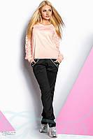 Женственный спортивный костюм. Все размеры. Цвет черно-розовый.