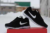 Мужские кроссовки Nike Free Run 3.0, натуральная замша, черные с белым / бег кроссовки мужские Найк Фри Ран
