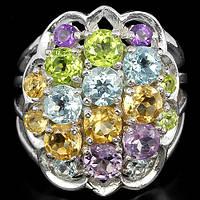 Серебряное Кольцо с Натуральными Аметистом Цитрином Топазом и Перидотом