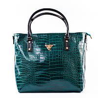 Зеленая большая сумка шоппер крокодиловая