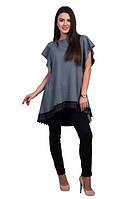 Стильный женский комплект: серая туника с черными брюками
