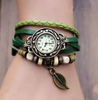 Часы Многослойные Листик/кварцевые/цвет зеленый